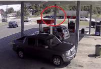 truck hits car